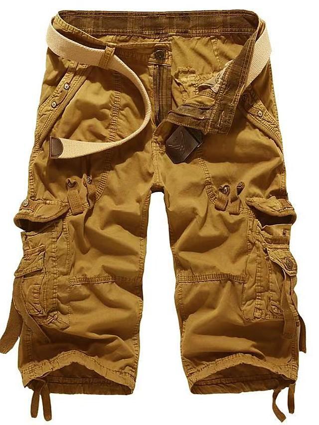 Homme basique Mince Quotidien Short Pantalon cargo Pantalon Couleur Pleine Longueur genou Rouge vin Kaki Gris Clair Gris Foncé Vert Claire / Eté
