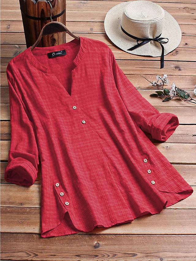 Women's Plus Size Tops Blouse Shirt Plain Button Long Sleeve V Neck Spring Summer Big Size L XL XXL 3XL 4XL