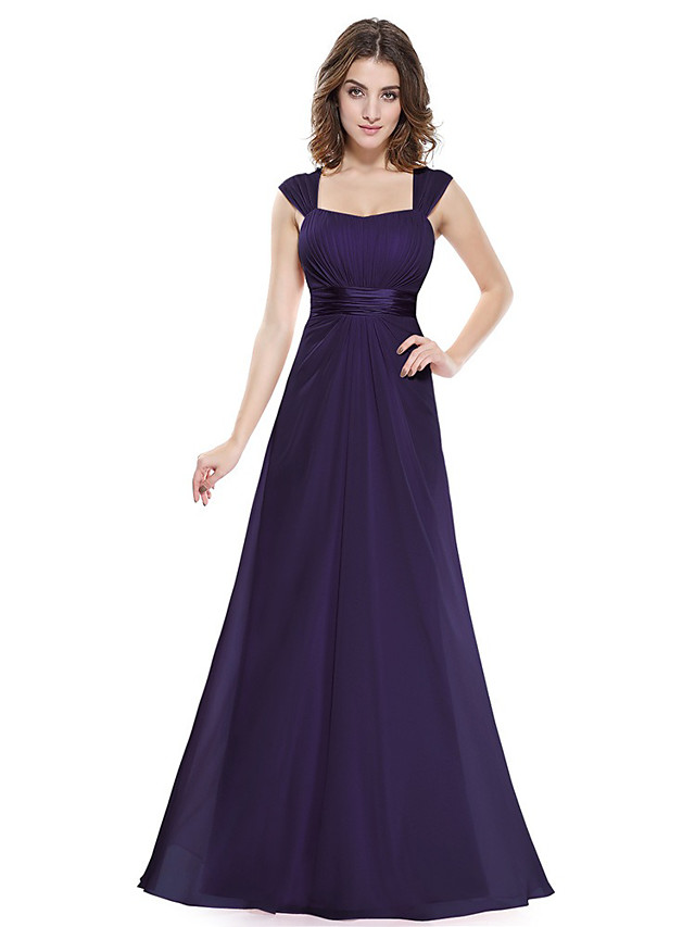 A-Line Beautiful Back Elegant Wedding Guest Formal Evening Dress Scoop Neck Sleeveless Floor Length Chiffon with Ruched 2021