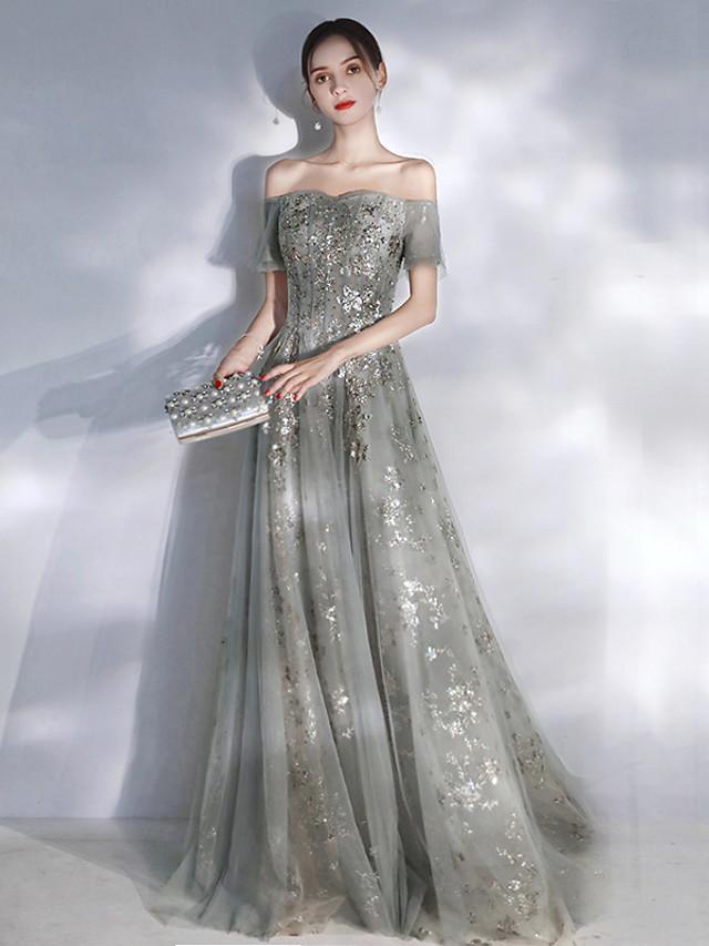 A-Line Glittering Elegant Engagement Formal Evening Dress Off Shoulder Short Sleeve Floor Length Spandex with Sequin Appliques 2021