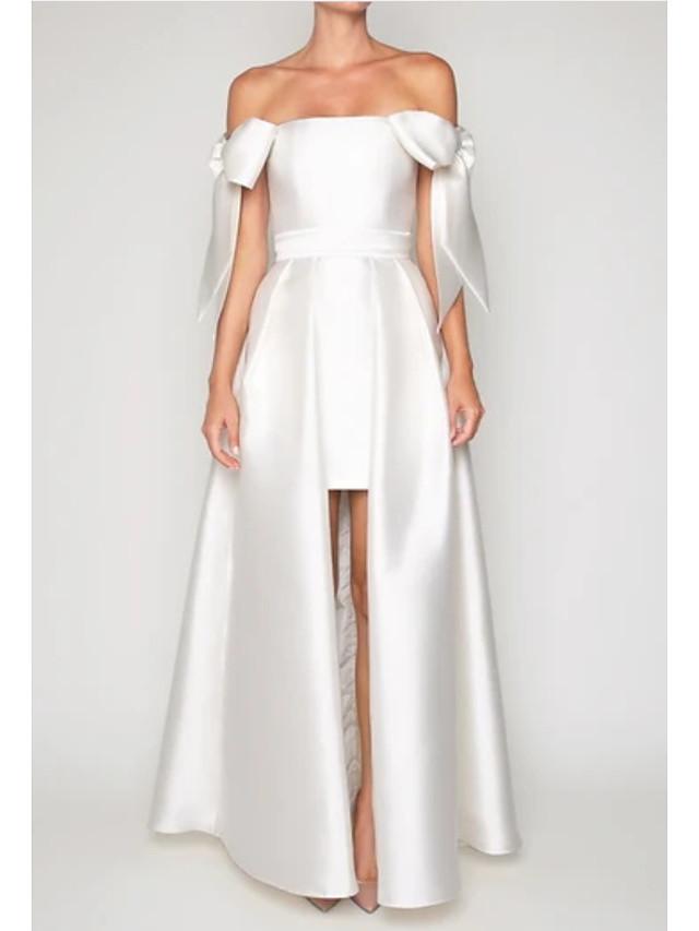 Linea-A Vintage ▾ Sensuale Fidanzamento Serata formale Vestito Senza spalline Manica corta Lungo Raso con A pieghe overskirt 2021