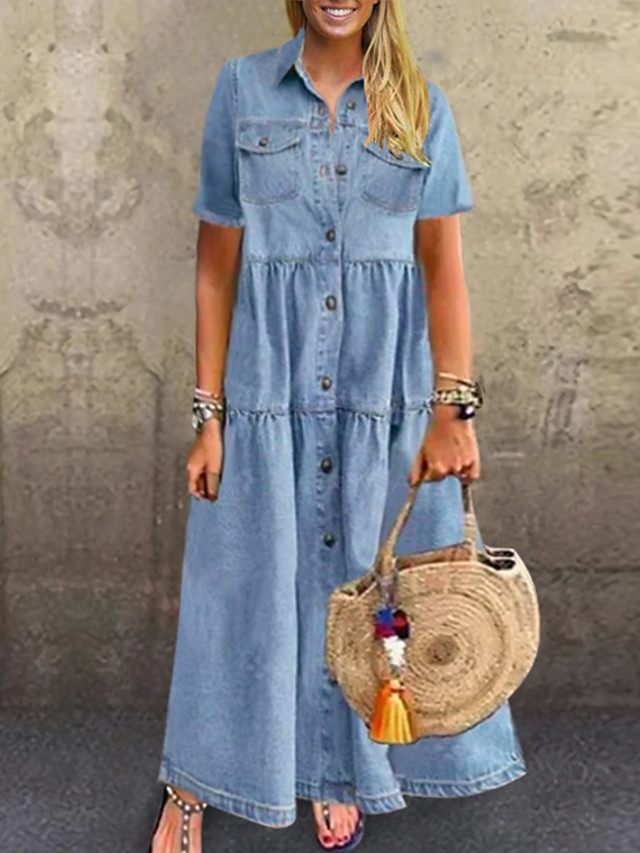 kadın artı boyutu elbise denim gömlek elbise maksi uzun elbise kısa kollu patchwork gündelik yaz gök mavisi koyu mavi xl xxl 3xl 4xl 5xl