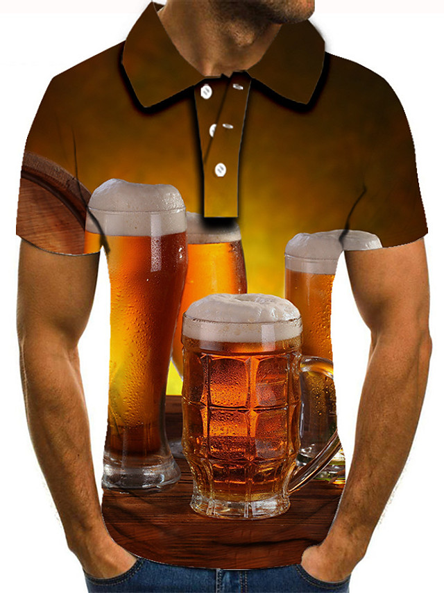 Men's Golf Shirt 3D Print Graphic Prints Beer Button-Down Short Sleeve Street Tops Casual Fashion Cool Brown / Sports