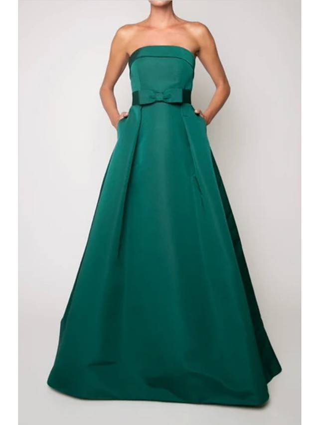 A-Line Beautiful Back Vintage Engagement Formal Evening Dress Strapless Sleeveless Floor Length Satin with Sleek Bow(s) 2021