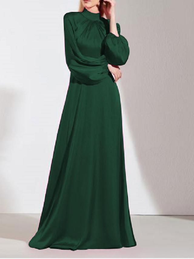 A-Line Minimalist Elegant Wedding Guest Prom Dress High Neck Long Sleeve Floor Length Imitation Silk with Sleek 2021