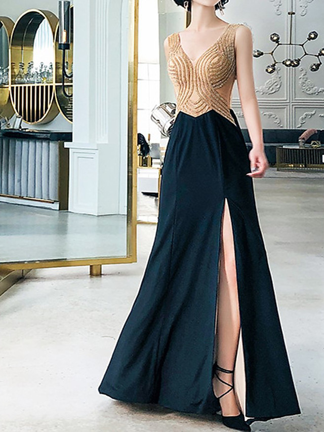 Mermaid / Trumpet Luxurious Sexy Engagement Formal Evening Dress V Neck Sleeveless Floor Length Spandex with Crystals 2021
