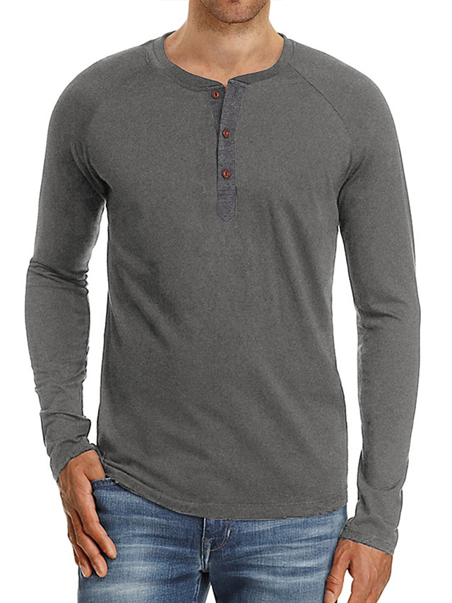 Hombre Camiseta Color sólido Manga Larga Casual Tops Mezcla de Algodón Sencillo Cómodo Escote Redondo Azul-Verde Blanco Negro / Vacaciones
