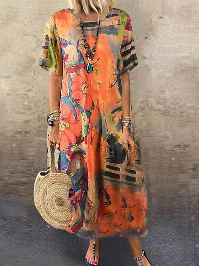 Women's Loose Maxi long Dress Orange Short Sleeve Floral / Botanical Summer Round Neck Elegant & Luxurious Casual Loose 2021 M L XL 2XL 3XL 4XL