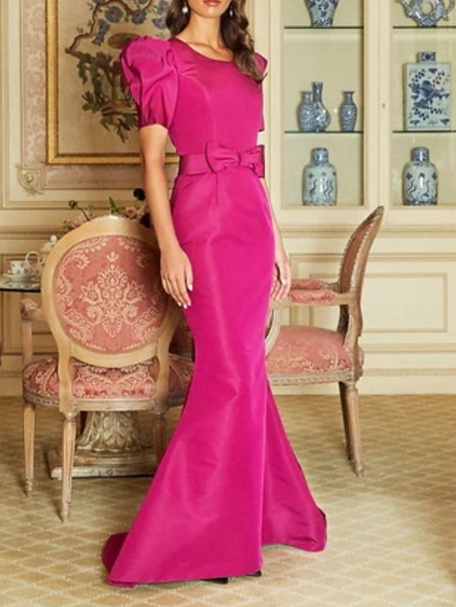 Mermaid / Trumpet Elegant Vintage Wedding Guest Formal Evening Dress Jewel Neck Short Sleeve Floor Length Satin with Bow(s) 2021