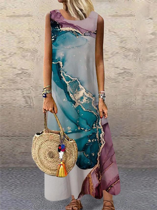 בגדי ריקוד נשים שמלת שיפט שמלת מקסי פול סגול ללא שרוולים דפוס צבע הדרגתי דפוס אביב קיץ צווארון עגול יום יומי חגים 2021 S M L XL XXL 3XL