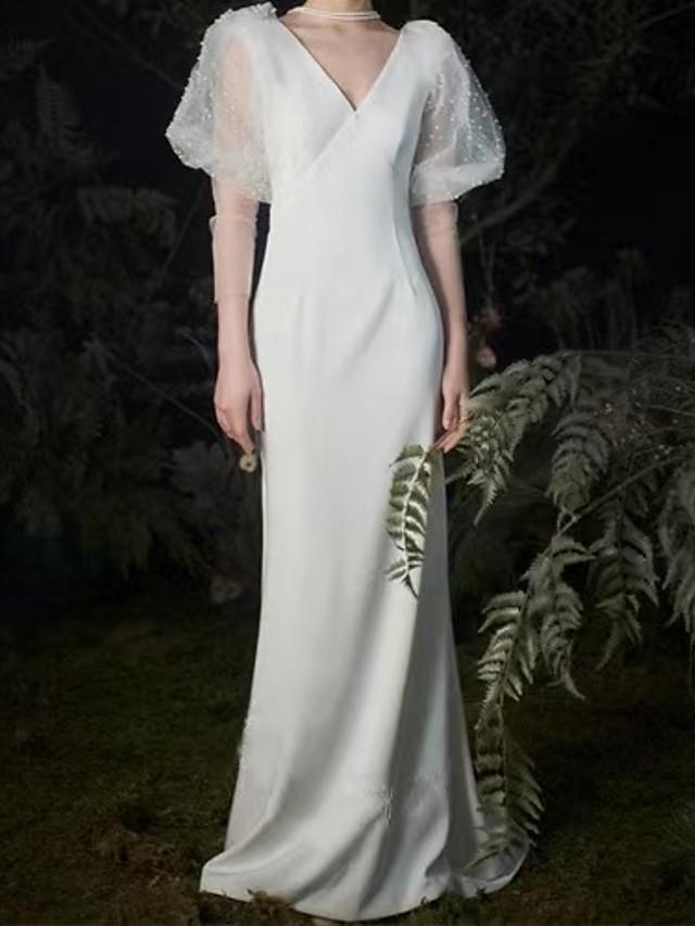 Mermaid / Trumpet Empire Elegant Engagement Formal Evening Dress V Neck 3/4 Length Sleeve Sweep / Brush Train Satin with Pearls 2021
