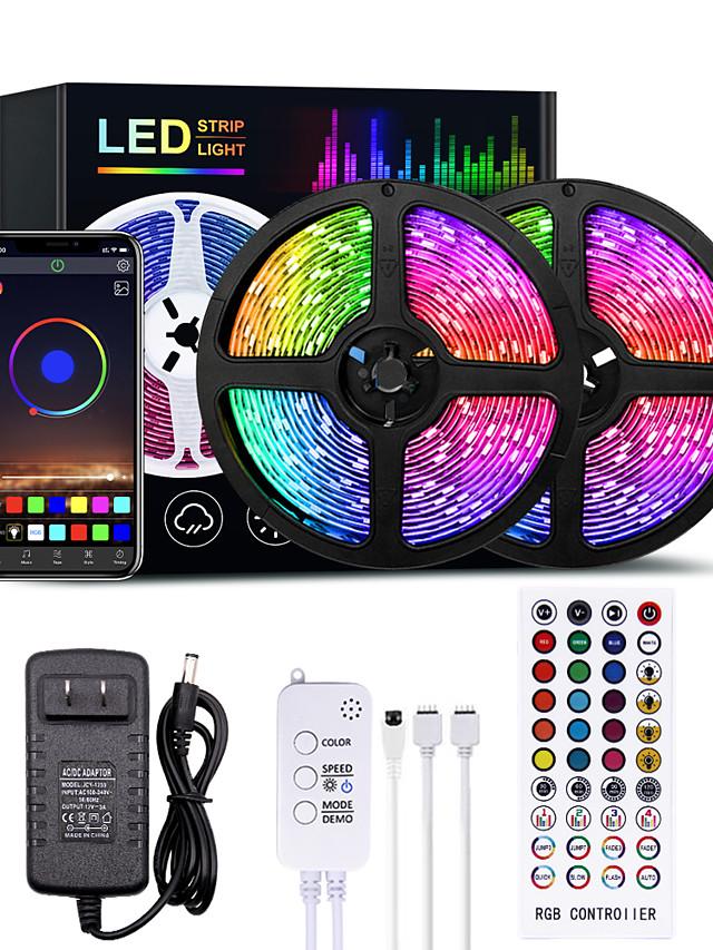 LED Strip Lights Bluetooth Music Sync 10M 20M 30M 40M Color Changing LED Strip 40 Keys Remote Sensitive Built in Mic App Controlled LED Lights 5050 RGB LED Light Strip APP Remote Mic 3 Button Switch