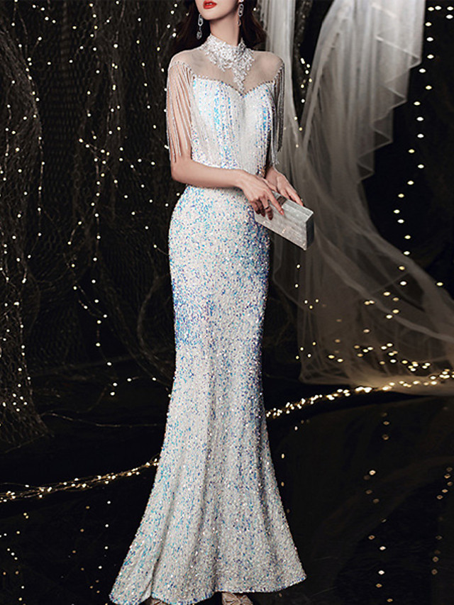 Mermaid / Trumpet Sparkle Sexy Prom Formal Evening Dress Illusion Neck 3/4 Length Sleeve Floor Length Sequined with Sequin Tassel Appliques 2021