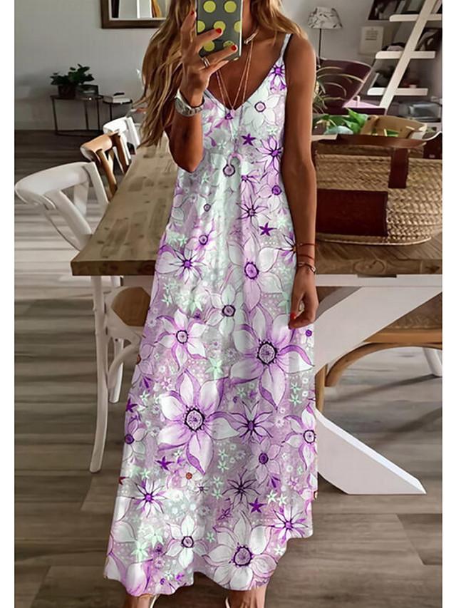 Women's A Line Dress Maxi long Dress Purple Yellow Blushing Pink Sleeveless Floral Print Print Spring Summer cold shoulder Casual 2021 S M L XL XXL