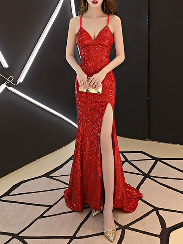 Mermaid / Trumpet Glittering Sexy Engagement Formal Evening Dress Spaghetti Strap Sleeveless Sweep / Brush Train Sequined with Sequin 2021