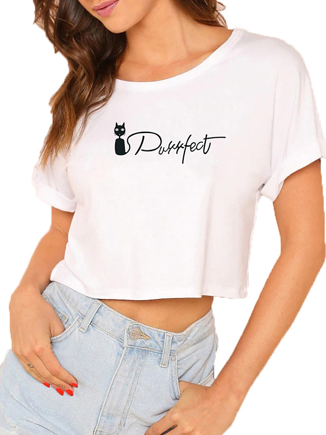 Women's Crop Tshirt Cat Graphic Letter Print Round Neck Tops 100% Cotton Basic Basic Top White