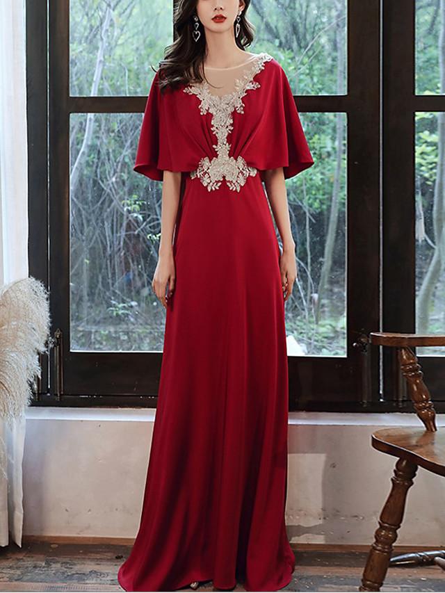 A-Line Elegant Floral Engagement Formal Evening Dress Illusion Neck Half Sleeve Floor Length Spandex with Appliques 2021