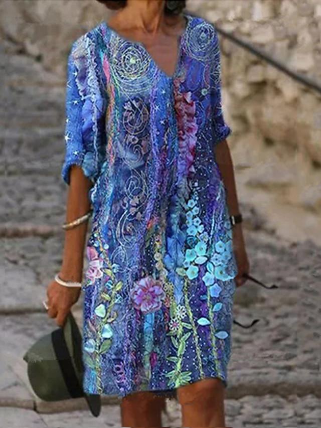 Women's Loose Knee Length Dress Long Sleeve Print Spring Summer V Neck Casual / Daily 2021 S M L XL XXL XXXL 4XL