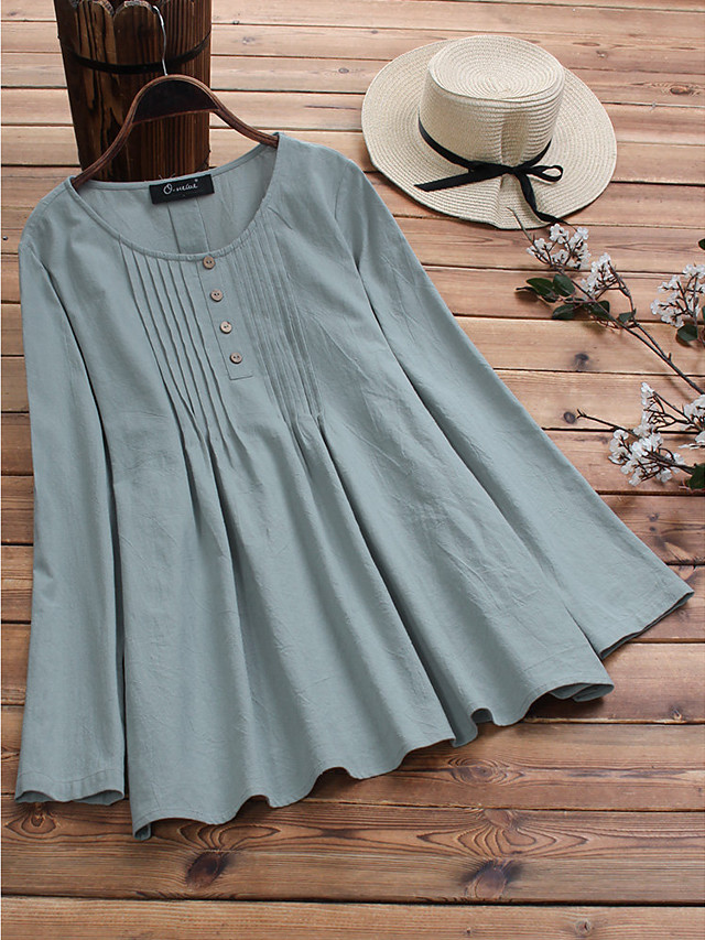 2019 spring european and american new amazon aliexpress wish cotton and linen large size pull strip shirt