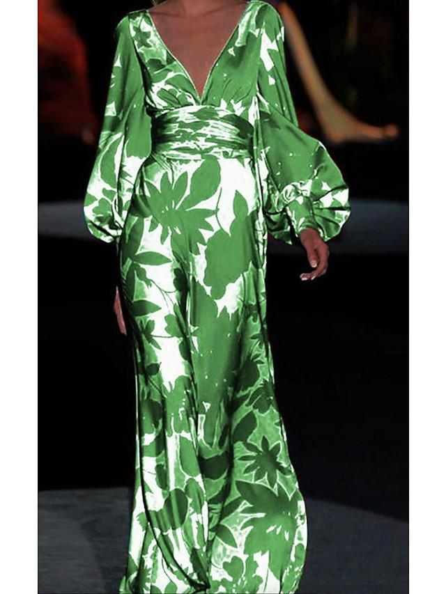 Žene Haljina plašt Maks haljina Djetelina Dugih rukava Ispis Ispis Proljeće Ljeto V izrez Ležerne prilike Pufasti rukav 2021 S M L XL