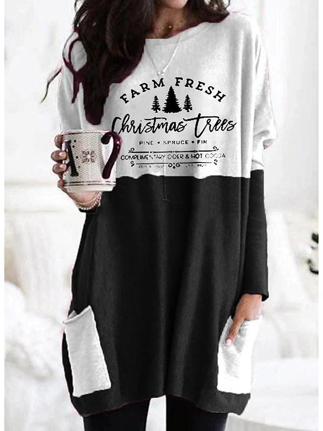 Women's T shirt Graphic Letter Long Sleeve Pocket Round Neck Tops Basic Basic Top Black Orange Khaki