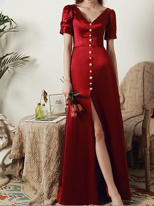 A-Line Reformation Amante Vintage Wedding Guest Formal Evening Dress V Neck Short Sleeve Floor Length Satin with Buttons 2021
