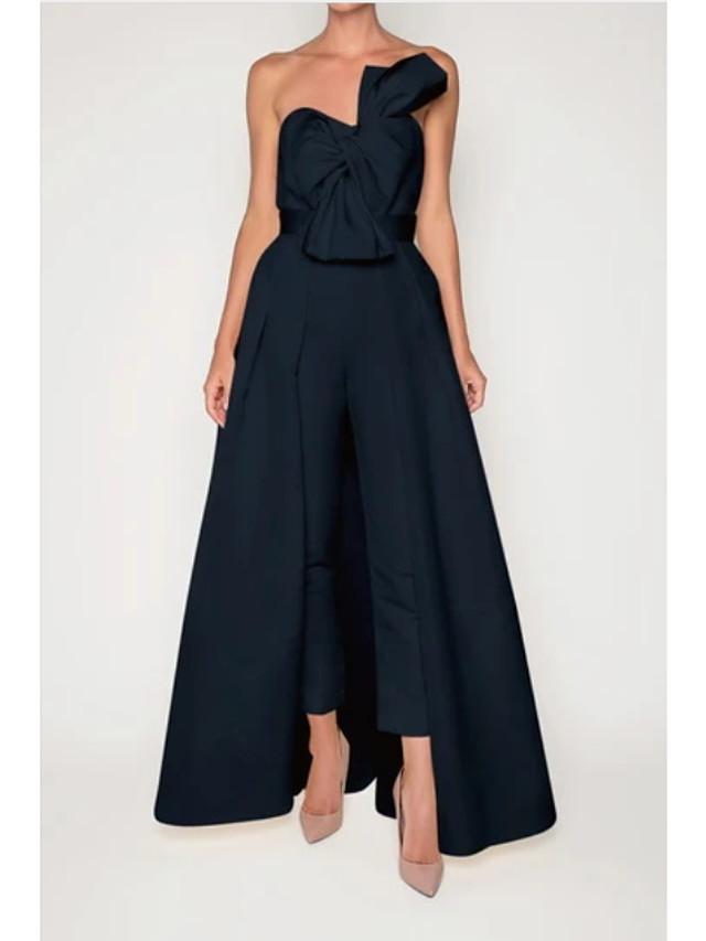 Jumpsuits Minimalist Elegant Engagement Formal Evening Dress Sweetheart Neckline Sleeveless Detachable Stretch Fabric with Bow(s) Pleats 2021