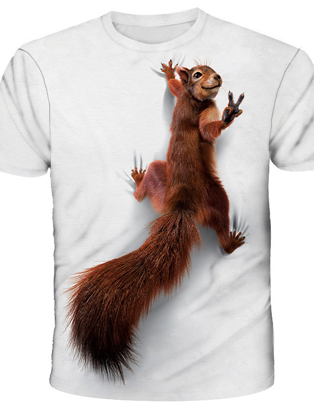 남성용 티셔츠 T 셔츠 3D 인쇄 그래픽 다람쥐 동물 프린트 짧은 소매 일상 탑스 베이직 디자이너 스트리트 쉬크 과장된 라운드 넥 화이트 푸른 루비