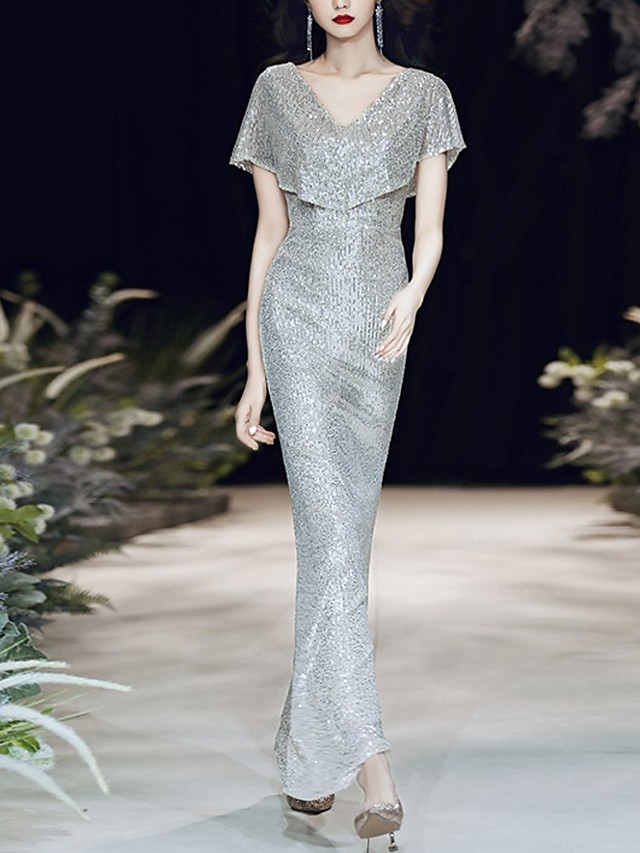 Mermaid / Trumpet Sparkle Sexy Wedding Guest Formal Evening Dress V Neck Short Sleeve Floor Length Sequined with Sequin 2021