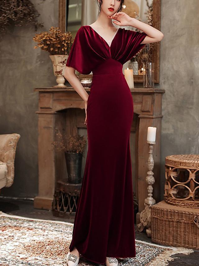 Mermaid / Trumpet Beautiful Back Vintage Wedding Guest Formal Evening Dress V Neck Half Sleeve Floor Length Velvet with Beading 2021