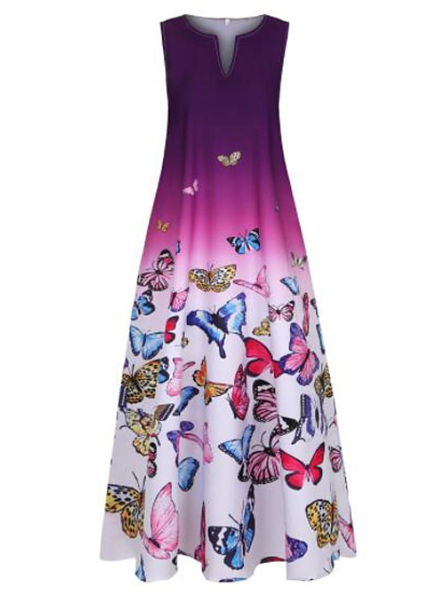 Women's Plus Size A Line Dress Maxi long Dress Blue Purple Sleeveless Butterfly Color Gradient Print Summer V Neck Hot Casual 2021 XL XXL 3XL 4XL 5XL