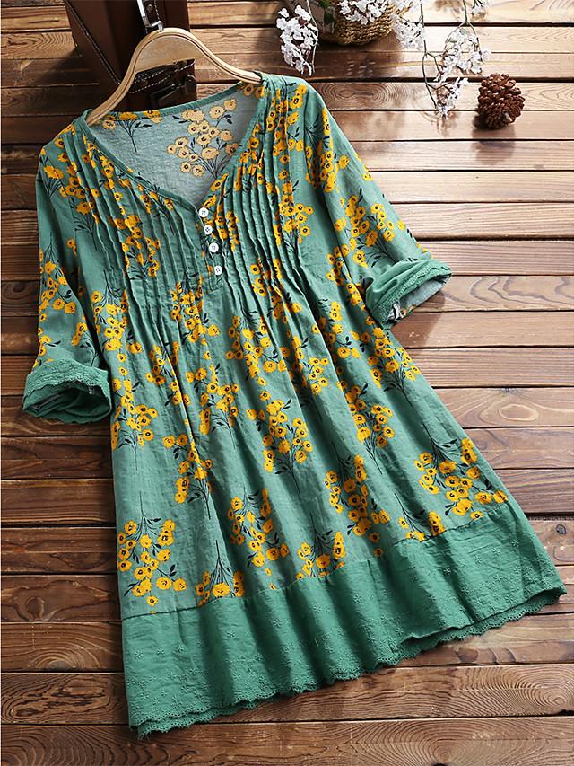 Women's Shirt Dress Short Mini Dress Long Sleeve Floral Ruched Ruffle Patchwork Spring Summer V Neck Casual Cotton 2021 L XL XXL 3XL 4XL 5XL / Print