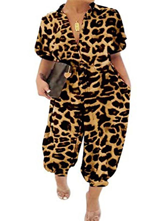 Women's Plus Size Jumpsuit Leopard Print Short Sleeve Spring Summer Black Leopard Purple Leopard Black L XL XXL XXXL 4XL / Holiday / Shirt Collar