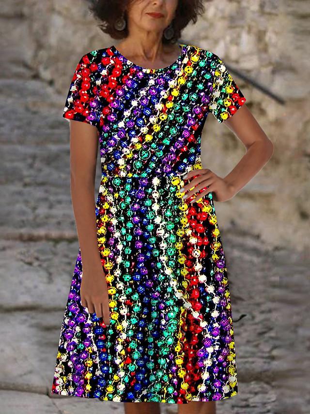 Women's T Shirt Dress Tee Dress Knee Length Dress Rainbow Short Sleeve Print Color Block Print Spring Summer Round Neck Casual Holiday 2021 S M L XL XXL 3XL