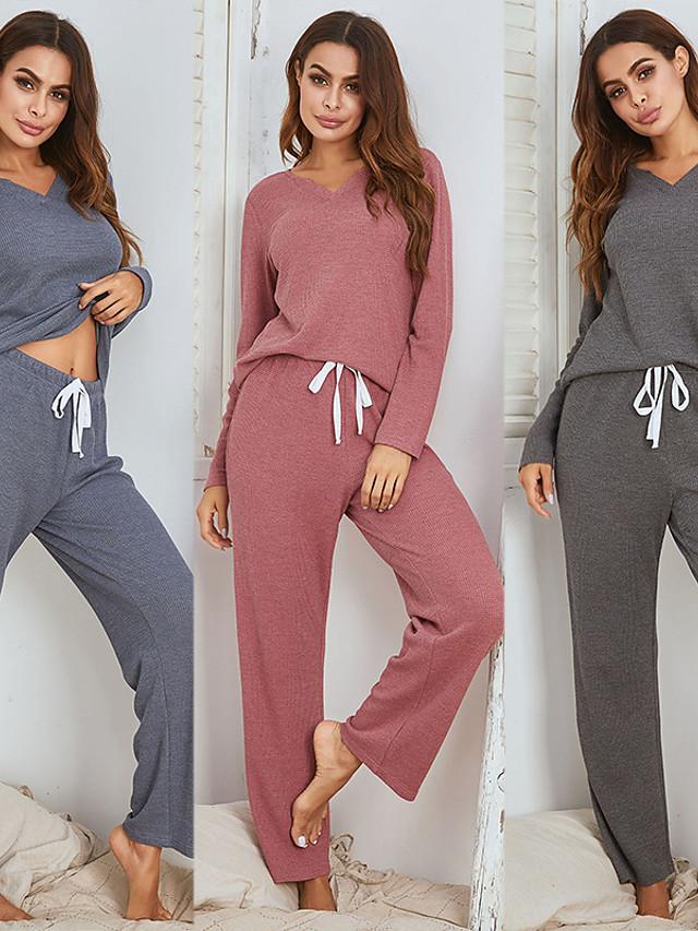 litb basic naisten kiristysnauha pyjamasetti v-aukkoinen puhdasvärinen neule top & pant vapaa-ajanasu koti päivittäinen puku 2 kpl 1 set top & bottom