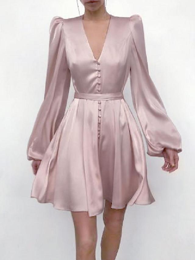 A-라인 미니멀리스트 우아함 홈 커밍 칵테일 파티 드레스 V 넥 긴 소매 숏 / 미니 인조 실크 와 매끄러운 2021