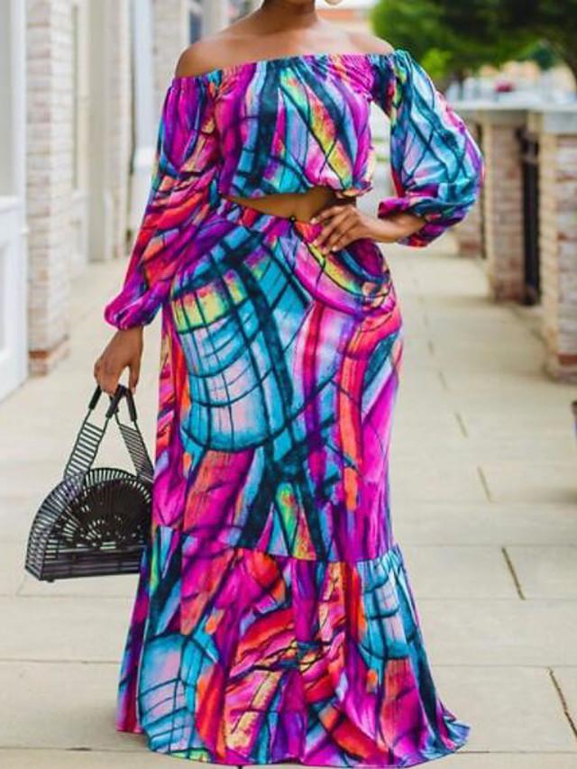 Women's Plus Size Dress Two Piece Dress Maxi long Dress Lantern Sleeve Long Sleeve Graphic One Shoulder Hot Spring Summer Purple L XL 2XL 3XL 4XL