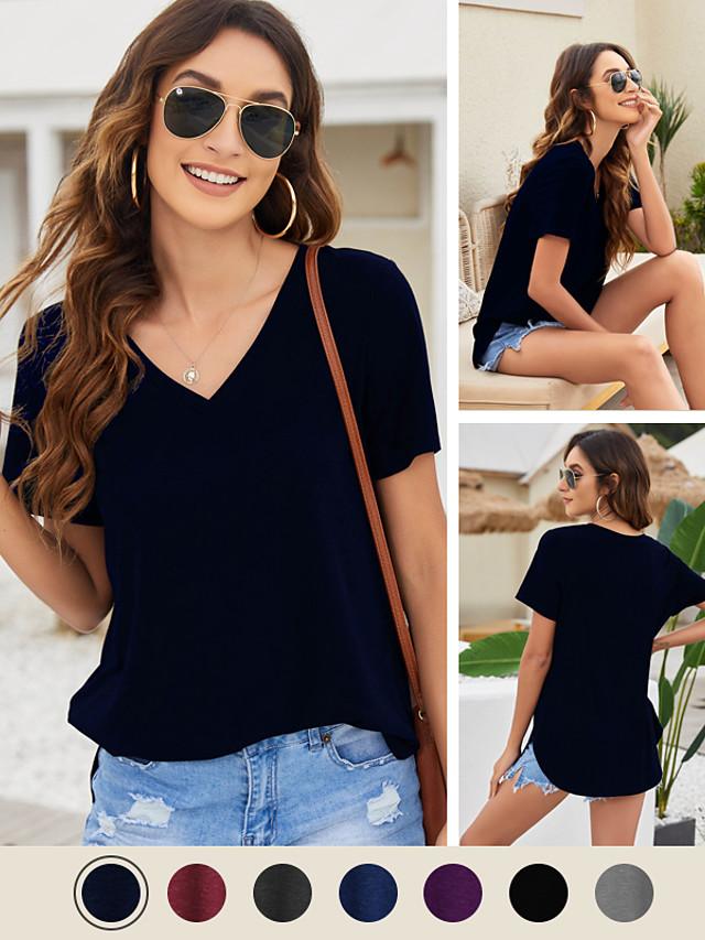 litb camiseta básica con cuello en v para mujer blusas básicas de color liso blusa suave esencial camiseta casual transpirable diaria