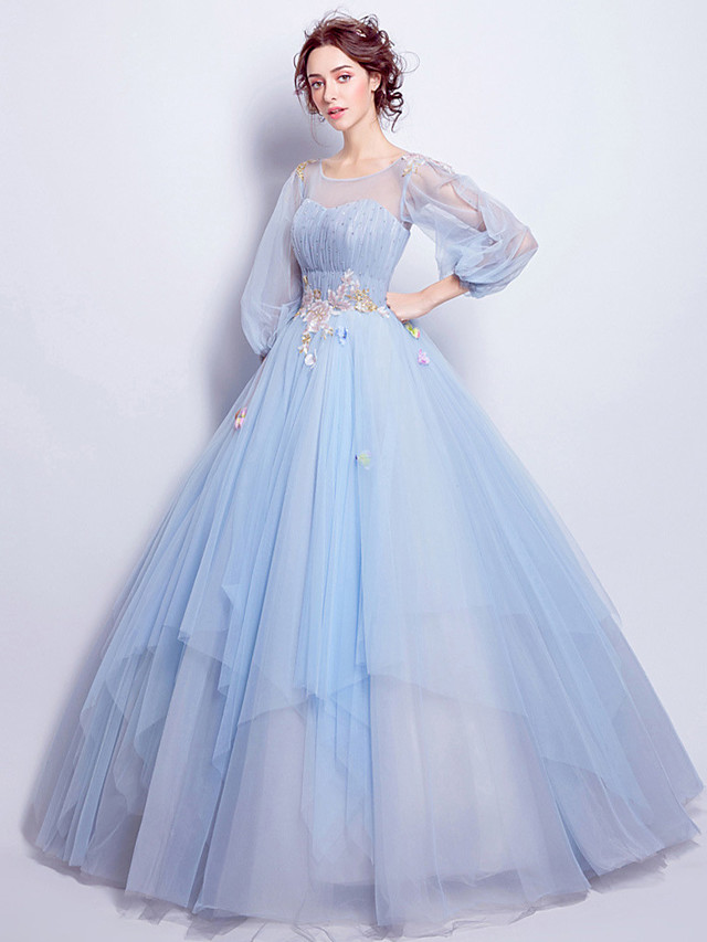 Ball Gown Elegant Floral Quinceanera Engagement Dress Illusion Neck 3/4 Length Sleeve Floor Length Tulle with Pleats Appliques 2021