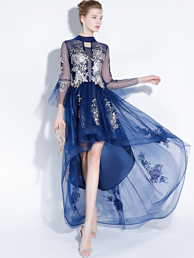 A-Line Chinese Style Floral Prom Formal Evening Dress Jewel Neck 3/4 Length Sleeve Asymmetrical Tulle with Embroidery 2021