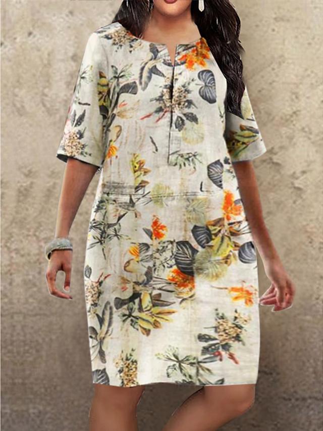 Women's Plus Size Shift Dress Knee Length Dress Fuchsia Orange Half Sleeve Floral Print Fall Summer Round Neck Hot Vintage 2021 S M L XL XXL 3XL 4XL