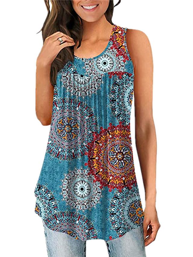 Women's Tank Top Vest T shirt Graphic Print U Neck Basic Boho Tops Blue Wine White