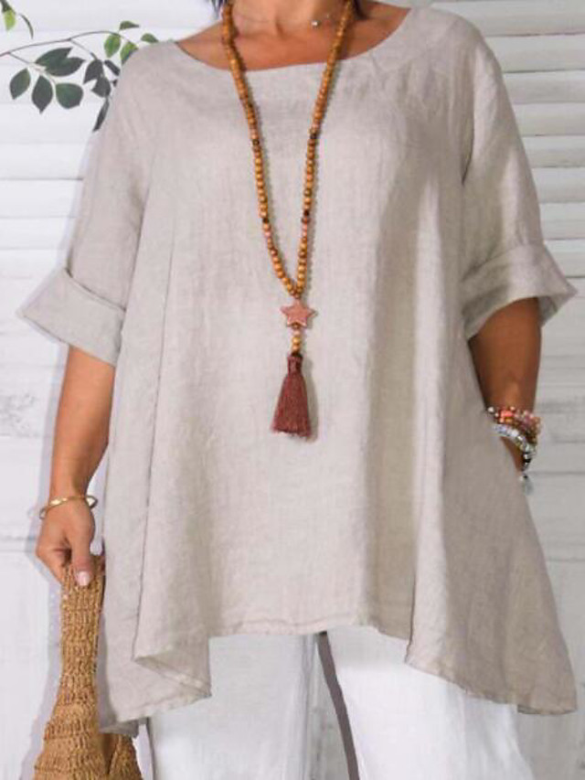 Women's Plus Size Tops Blouse Shirt Solid Color Patchwork Long Sleeve Round Neck Casual Beige Blue Big Size XL XXL 3XL4XL