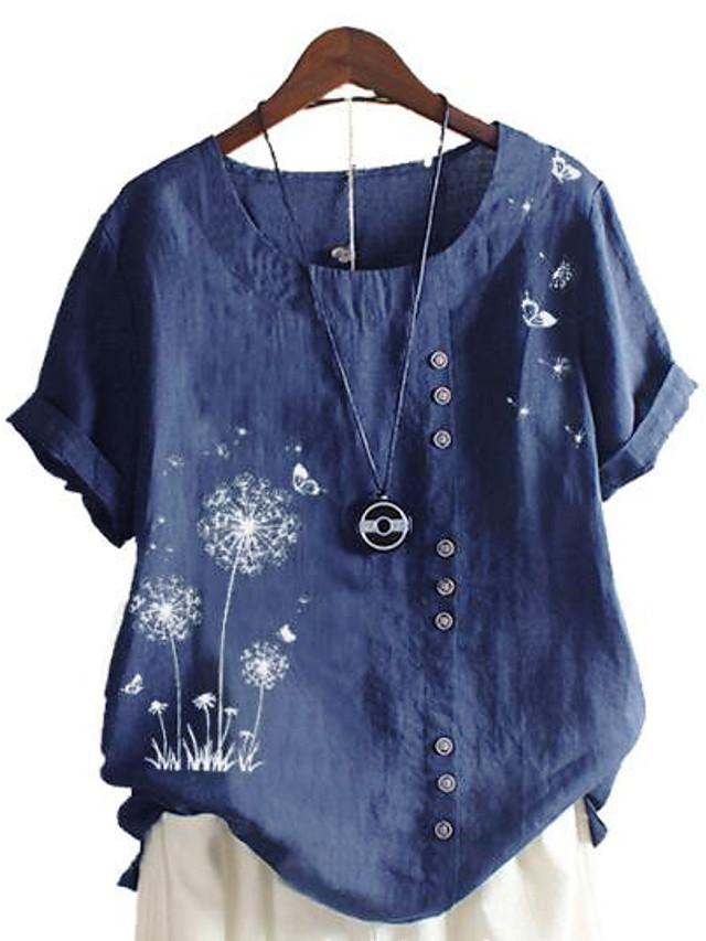Women's Plus Size Tops Blouse Shirt Floral Graphic Dandelion Short Sleeve Round Neck Casual Spring Summer Blue Green Pink Big Size L XL 2XL 3XL 4XL