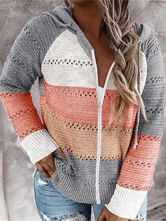 Women's Plus Size Tops Sweater Color Block Zipper Long Sleeve Hoodie Fall Winter khaki Gray Big Size L XL XXL XXXL 4XL