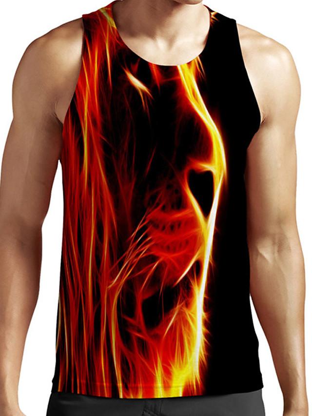 Men's Unisex Tank Top Undershirt 3D Print Graphic Prints Lion Animal Plus Size Print Sleeveless Casual Tops Basic Fashion Designer Breathable Black