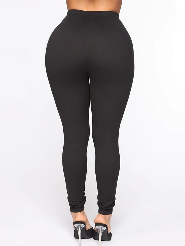 Women's Yoga Soft Comfort Breathable Outdoor Sports Weekend Yoga Pants Leggings Pants Plain Full Length Elastic Waist High Waist Black Purple Blushing Pink Wine Beige