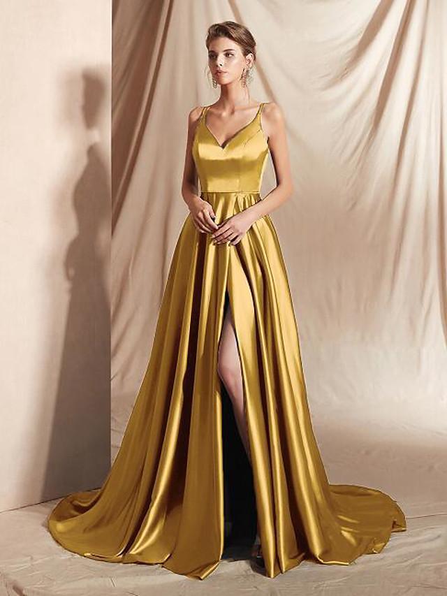 A-Line Minimalist Sexy Wedding Guest Formal Evening Dress V Neck Sleeveless Court Train Satin with Sleek Split 2021