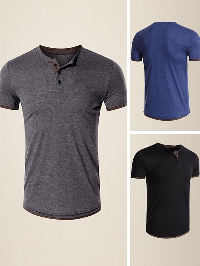 camiseta para hombre color sólido manga corta casual slim tops simple básico cómodo gris