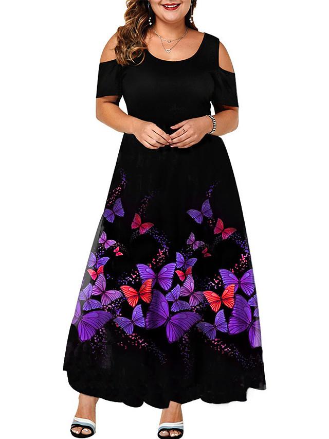 نسائي حجم اضافي فستان فستان سوينج فستان طويل كم قصير فراشة حيوان طباعة أنيق الربيع الصيف أرجواني L XL XXL 3XL 4XL / قياس كبير